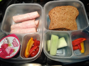 Kids lunchboxes with healthy food choices